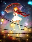 1girl bangs bare_arms bare_shoulders barefoot blue_eyes brown_hair closed_mouth commentary_request dated dress highres holding jurrig kirisaki_chitoge light_bulb long_hair nisekoi red_scarf scarf signature smile solo umbrella white_dress