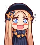 1girl abigail_williams_(fate/grand_order) bangs black_bow black_dress black_hat blonde_hair blue_eyes blush_stickers bow chibi dress fate/grand_order fate_(series) flying_sweatdrops hair_bow hat long_hair looking_at_viewer open_mouth orange_bow parted_bangs polka_dot polka_dot_bow pupupu_(1053378452) simple_background solo very_long_hair wavy_mouth white_background