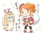 alternate_costume animal_costume antlers aquila_(kantai_collection) capelet christmas dress fur_trim gift graf_zeppelin_(kantai_collection) hair_ornament hairclip hat high_ponytail jacket kantai_collection long_hair merry_christmas orange_hair rebecca_(keinelove) red_dress red_jacket reindeer_costume sack santa_costume santa_hat translation_request