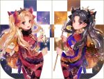 2girls :d black_bow black_hair blonde_hair bow closed_mouth commentary_request cowboy_shot crown earrings ereshkigal_(fate/grand_order) eyebrows_visible_through_hair fate/grand_order fate_(series) from_side fur_collar hair_bow holding ishtar_(fate/grand_order) japanese_clothes jewelry kimono long_hair long_sleeves looking_at_viewer looking_to_the_side multiple_girls obi open_mouth red_bow red_eyes sash shutsuri smile standing symmetry tohsaka_rin twintails wide_sleeves