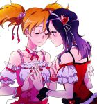 2girls blush closed_eyes closed_mouth detached_collar fresh_precure! hair_ornament heart_hair_ornament higashi_setsuna interlocked_fingers looking_at_another momozono_love multiple_girls negom orange_hair precure purple_hair red_eyes short_hair simple_background smile twintails white_background yuri