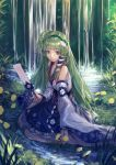 1girl chun_lanlanlan creek detached_sleeves flower frog grass green_eyes green_hair hair_accessories headband kochiya_sanae leaves long_hair ofuda snake star strings touhou trees water waterfall