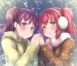2girls bangs beige_coat blush brown_coat coat earmuffs fur-trimmed_coat fur_trim green_eyes hand_holding highres ichiban_no_yagi kazuno_leah kurosawa_ruby long_sleeves looking_at_viewer love_live! love_live!_sunshine!! multiple_girls parted_lips pom_pom_(clothes) purple_hair redhead snowing twintails two_side_up upper_body violet_eyes winter_clothes yuri