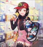 1girl :d alolan_vulpix bag black_hair black_legwear black_sweater blurry blurry_background braid bulbasaur cellphone character_doll charizard clefairy cosmog cowboy_shot depth_of_field diglett ditto duffel_bag eevee fang flat_cap hair_between_eyes hakusai_(tiahszld) hand_up hat headphones headphones_around_neck heart holding holding_poke_ball index_finger_raised indoors long_sleeves looking_at_viewer mew nail_polish open_mouth original oshawott outstretched_arm pantyhose phone pikachu pink_shorts poke_ball pokedex pokemon pyukumuku red_eyes red_hat red_nails revision rowlet short_hair shorts shoulder_bag side_braid single_braid sleeves_past_wrists smile solo star suspender_shorts suspenders sweater transparent triforce tsurime turtleneck turtleneck_sweater v-shaped_eyebrows water waterfall