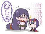 2girls :o absurdly_long_hair angry black_legwear black_panties chibi closed_eyes closed_mouth commentary_request fate/grand_order fate_(series) gem headpiece highres hitting horns japanese_clothes jitome kimono long_hair low-tied_long_hair minamoto_no_raikou_(fate/grand_order) multiple_girls obi off_shoulder oni oni_horns onomatopoeia panties pelvic_curtain puffy_short_sleeves puffy_sleeves purple_hair rei_(rei_rr) sash short_eyebrows short_hair short_sleeves shuten_douji_(fate/grand_order) simple_background sitting smile standing thigh-highs translation_request underwear very_long_hair violet_eyes white_background wide_sleeves