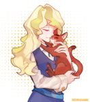 1girl blonde_hair cat closed_eyes diana_cavendish hug little_witch_academia milk_puppy tagme