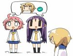 3girls :d ahoge black_legwear blank_eyes blonde_hair blue_sailor_collar blue_skirt blush chibi commentary_request eyebrows_visible_through_hair grey_footwear hinata_yukari ichii_yui kanikama kneehighs long_hair long_sleeves low_twintails multiple_girls necktie nonohara_yuzuko open_mouth pink_hair pleated_skirt purple_hair school_uniform serafuku shoes short_hair simple_background skirt smile sweatdrop thought_bubble twintails white_background white_legwear yellow_neckwear yuyushiki ||_||