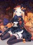 1girl :o abigail_williams_(fate/grand_order) bangs black_bow black_dress black_footwear black_hat black_legwear blonde_hair bloomers blue_eyes blush bow butterfly cup dress fate/grand_order fate_(series) forehead full_body hair_bow hat head_tilt hmniao holding_saucer long_hair long_sleeves looking_at_viewer mary_janes object_hug orange_bow parted_bangs parted_lips polka_dot polka_dot_bow saucer shoes sitting sleeves_past_wrists solo spoon stuffed_animal stuffed_toy teacup teddy_bear thigh-highs underwear very_long_hair wariza white_bloomers
