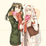 2018 2girls alternate_costume blush brown_eyes brown_scarf commentary cowboy_shot eyebrows_visible_through_hair fur_trim gift gift_wrapping green_coat green_eyes green_hair grey_hair grin hair_between_eyes hair_over_shoulder hair_ribbon hairband heart holding holding_gift kantai_collection long_hair long_sleeves looking_at_viewer multiple_girls red_hairband red_ribbon red_sweater ribbon shoukaku_(kantai_collection) smile sweater teeth tote_bag twintails valentine very_long_hair weidashming white_coat white_hair white_ribbon white_sweater zipper zuikaku_(kantai_collection)