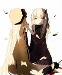 2girls abigail_williams_(fate/grand_order) bags_under_eyes black_bow black_dress black_hat blonde_hair blood blood_from_mouth bow closed_eyes closed_mouth commentary_request dress eeu_(musuka73) facing_away fate/grand_order fate_(series) feathers hat horn lavinia_whateley_(fate/grand_order) long_hair long_sleeves multiple_girls nail_polish orange_bow polka_dot polka_dot_bow red_nails simple_background sitting smile very_long_hair wariza white_background white_hair