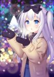 1girl blue_eyes blurry blurry_background bow christmas coat hair_bow long_hair mittens one_side_up original outdoors silver_hair solo upper_body yatsuki_yura