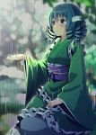 1girl blue_eyes blue_hair blurry blurry_background bokeh closed_mouth depth_of_field drill_hair eyebrows_visible_through_hair frilled_kimono frilled_sleeves frills green_kimono hand_on_lap head_fins japanese_clothes kimono long_sleeves looking_afar medium_hair mermaid monster_girl obi outdoors outstretched_hand rain rock sash sitting solo tareme touhou wakasagihime water wide_sleeves yuuka_nonoko