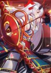 1girl armor arrow bangs bow bow_(weapon) breasts closed_mouth fate/grand_order fate_(series) hachimaki hair_between_eyes headband highres japanese_armor kusazuri langya_beike large_breasts long_hair looking_at_viewer oni_horns petals red_eyes sideboob silver_hair solo tomoe_gozen_(fate/grand_order) very_long_hair weapon