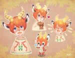 1boy animal_ears bag blue_eyes closed_eyes deer deer_ears deer_tail doubutsu_no_mori flower heart horns open_mouth orange_hair paper_bag personification peter_(doubutsu_no_mori) smile sweater tail