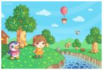 1boy 2girls animal balloon bird black_eyes brown_eyes brown_hair bug_net butterfly caaru_(doubutsu_no_mori) cavea clouds deviantart doubutsu_no_mori dress fish flower frog gift grass house looking_up nintendo penguin present red_shoes sabrina_(doubutsu_no_mori) sky smile striped_socks tree villager_(doubutsu_no_mori) water