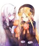 2girls ^_^ abigail_williams_(fate/grand_order) bags_under_eyes bangs black_bow black_dress black_hat blonde_hair blush bow closed_eyes closed_mouth commentary_request dress eyebrows_visible_through_hair fate/grand_order fate_(series) hair_between_eyes hair_bow hat highres holding holding_stuffed_animal horn izumi_(beansprouto) lavinia_whateley_(fate/grand_order) long_sleeves multiple_girls orange_bow pale_skin parted_bangs pink_eyes signature sleeves_past_wrists smile stuffed_animal stuffed_toy teddy_bear wavy_mouth white_hair wide-eyed