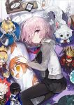 1girl alchemaniac arjuna_(fate/grand_order) artoria_pendragon_(all) bed black_dress black_legwear cardigan character_doll dakimakura_(object) demon_archer dress fate/grand_order fate_(series) fou_(fate/grand_order) from_above hair_between_eyes highres indoors karna_(fate) looking_at_viewer lying mash_kyrielight mordred_(fate) mordred_(fate)_(all) necktie on_side open_cardigan open_clothes pantyhose pillow pink_hair pleated_dress red_neckwear saber short_dress short_hair smile solo sweater violet_eyes