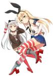 2girls amatsukaze_(kantai_collection) anchor_hair_ornament black_panties blonde_hair blue_sailor_collar brown_dress crop_top dress elbow_gloves full_body garter_straps gloves green_eyes hair_ornament hair_tubes highleg highleg_panties highres kantai_collection long_hair looking_at_viewer microskirt miniskirt multiple_girls panties red_legwear sailor_collar sailor_dress school_uniform serafuku shimakaze_(kantai_collection) short_dress silver_hair single_glove skirt striped striped_legwear thigh-highs two_side_up underwear white_gloves white_sailor_collar windsock yoshikita_popuri