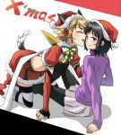 2girls animal_ears black_hair blonde_hair blush character_request christmas closed_eyes detached_sleeves dog_ears dog_tail grey_skirt hand_on_another's_shoulder midriff multiple_girls pantyhose purple_sweater santa_costume senki_zesshou_symphogear short_hair skirt smile stc striped striped_legwear tachibana_hibiki_(symphogear) tail tail_wagging thigh-highs tongue tongue_out white_background yuri