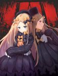 2girls abigail_williams_(fate/grand_order) absurdres bangs black_bow black_dress black_hat blonde_hair blue_eyes blush bow butterfly closed_mouth commentary_request dress dual_persona eyebrows_visible_through_hair fate/grand_order fate_(series) hair_bow hat highres ky_(ky990533) long_sleeves looking_at_viewer multiple_girls noose object_hug orange_bow parted_bangs parted_lips polka_dot polka_dot_bow profile sleeves_past_wrists smile stuffed_animal stuffed_toy teddy_bear violet_eyes