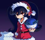 1girl ashley_(warioware) bag black_hair blush bomb christmas half-closed_eyes hat long_hair looking_at_viewer red_eyes santa_costume solo takamame twintails very_long_hair warioware