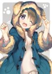 1girl ;d animal_hood bangs blue_coat blush brown_hair coat dog_hood duffel_coat eyebrows_visible_through_hair fang fur-trimmed_coat fur-trimmed_sleeves fur_trim grey_background hands_up head_tilt heart heart-shaped_pupils hood hood_up hooded_coat long_hair long_sleeves looking_at_viewer one_eye_closed open_mouth original paw_background round_teeth smile solo sweater symbol-shaped_pupils tareme tatami_to_hinoki teeth upper_body violet_eyes w_arms white_sweater winter_clothes winter_coat