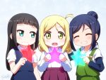 3girls :d ^_^ ahoge bangs black_hair blonde_hair blue_eyes blue_hair blue_skirt blue_vest blunt_bangs child closed_eyes commentary_request eyebrows_visible_through_hair girl_sandwich green_eyes grin hair_bun holding holding_star kurosawa_dia langbazi long_hair long_sleeves looking_at_viewer love_live! love_live!_sunshine!! matsuura_kanan multiple_girls ohara_mari open_mouth overalls pleated_skirt purple_skirt sandwiched shirt short_over_long_sleeves short_sleeves simple_background skirt smile star vest white_background white_shirt