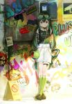 1girl :p against_wall arms_behind_back asui_tsuyu bag belt black_choker boku_no_hero_academia brown_footwear casual chains character_name choker closed_mouth clothes_writing ekita_xuan eyewear_on_head graffiti green_eyes green_hair green_legwear green_shirt grey_shorts hair_between_eyes highres legs_crossed long_hair looking_at_viewer low-tied_long_hair shirt shoes shorts shoulder_bag smile socks solo standing sunglasses tongue tongue_out very_long_hair