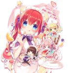 4girls :< :3 :d :q amamine animal_ears apron aqua_skirt bangs blonde_hair blue_eyes blue_skirt blueberry blush breasts brown_eyes brown_hair cat_ears cat_girl cat_tail cherry chibi closed_mouth commentary_request cream eyebrows_visible_through_hair food frilled_apron frills fruit green_eyes hair_between_eyes hair_ribbon head_tilt heart high-waist_skirt holding holding_food holding_plate large_breasts long_hair looking_at_viewer maid_headdress multiple_girls open_mouth original parfait pink_hair pink_skirt plaid plaid_skirt plate pleated_skirt puffy_short_sleeves puffy_sleeves purple_ribbon red_eyes ribbon shirt short_sleeves skirt smile star strawberry tail tongue tongue_out triangle_mouth twintails v-shaped_eyebrows very_long_hair violet_eyes wafer_stick waist_apron white_apron white_background white_shirt yellow_skirt