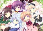 5girls :d :o ;) ama_usa_an_uniform angora_rabbit animal animal_ears anko_(gochiusa) apron aqua_eyes artist_name bangs black_skirt blonde_hair blue_eyes blue_neckwear blue_vest blunt_bangs blush bow bowtie breasts brown_hair buttons center_frills closed_mouth collared_shirt commentary_request cookie crown cup eating everyone eyebrows_visible_through_hair fake_animal_ears fleur_de_lapin_uniform floppy_ears flower food frilled_apron frilled_cuffs frilled_shirt frilled_skirt frills gochuumon_wa_usagi_desu_ka? green_eyes green_kimono hair_between_eyes hair_flower hair_ornament hairclip hands_together heart holding holding_animal hoto_cocoa japanese_clothes kafuu_chino kimono kirima_sharo light_blue_hair long_hair long_sleeves looking_at_viewer lying maid_headdress mini_crown multiple_girls official_art on_stomach one_eye_closed open_mouth orange_hair pink_vest plant polka_dot_trim puffy_short_sleeves puffy_sleeves purple_hair purple_neckwear purple_vest rabbit rabbit_ears rabbit_house_uniform red_neckwear ribbon saucer shirt short_hair short_sleeves sidelocks skirt sleeves_past_wrists small_breasts smile striped striped_kimono suihi tea teacup teapot tedeza_rize tippy_(gochiusa) twintails ujimatsu_chiya underbust v vest vines violet_eyes waist_apron white_apron white_flower white_ribbon white_shirt wide_sleeves wild_geese wing_collar wrist_cuffs x_hair_ornament