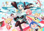 2boys 4girls aqua_eyes aqua_hair armpits arms_up black_legwear blonde_hair blue_hair blush_stickers boots brown_hair chibi detached_sleeves floating_hair hair_ornament hair_ribbon hairclip hatsune_miku headset kagamine_len kagamine_rin kaito long_hair looking_at_viewer mao_yu megurine_luka meiko multiple_boys multiple_girls necktie open_mouth pink_hair ribbon roller_skates short_hair shorts siblings skates smile thigh-highs thigh_boots twintails very_long_hair vocaloid
