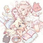 2girls ahoge animal_ears bed_sheet blonde_hair bloomers blouse book bunny_tail camisole candy cat_ears cat_tail checkerboard_cookie clenched_hands closed_eyes commentary_request cookie cup food frilled_pillow frills head_rest lollipop long_hair lying marshmallow mokarooru multiple_girls navel on_side on_stomach open_book open_mouth original paw_print_pattern pillow pink_hair rabbit_ears short_hair slippers striped striped_legwear stuffed_animal stuffed_bunny stuffed_cat stuffed_toy tail teacup thigh-highs underwear