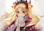 1girl bangs blush bow cape closed_mouth earrings ereshkigal_(fate/grand_order) eyebrows_visible_through_hair fate/grand_order fate_(series) hair_bow jewelry long_hair looking_at_viewer mittens motion_blur nose_blush own_hands_together parted_bangs red_bow red_cape scarf smile snowflakes snowing solo sparkle tareme terai_(teraimorimori) tiara tohsaka_rin two_side_up upper_body very_long_hair white_scarf