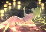 2girls animal_ears bangs black_hair black_kimono blonde_hair closed_eyes commentary_request floating_hair floral_print fox_ears highres japanese_clothes kimono kiss konohana_kitan lantern long_hair long_sleeves lying multiple_girls obi on_back pink_kimono print_kimono reflection sakura_(konohana_kitan) sash senya_fuurin very_long_hair water wide_sleeves yuri yuzu_(konohana_kitan)