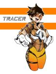 1girl :d black_gloves bomber_jacket breasts brown_eyes brown_hair character_name collarbone cropped_legs eron eyebrows_visible_through_hair gloves goggles hands_on_hips harness head_tilt highres jacket looking_at_viewer medium_breasts open_mouth overwatch short_hair smile solo tracer_(overwatch) union_jack white_background