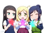 3girls :d ^_^ ahoge bangs black_hair blonde_hair blue_eyes blue_hair blue_skirt blue_vest blunt_bangs closed_eyes eyebrows_visible_through_hair girl_sandwich green_eyes grin hair_bun holding holding_star kurosawa_dia langbazi long_hair long_sleeves looking_at_viewer love_live! love_live!_sunshine!! matsuura_kanan multiple_girls ohara_mari open_mouth overalls pleated_skirt purple_skirt sandwiched shirt short_over_long_sleeves short_sleeves simple_background skirt smile star vest white_background white_shirt