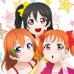 10s 3girls alternate_costume alternate_hairstyle black_hair blue_eyes braid cosplay costume_switch hairstyle_switch kousaka_honoka kousaka_honoka_(cosplay) lips love_live! multiple_girls orange_blouse orange_hair pink_eyes pixiv red_eyes ribbon saki_(pixiv_id_15503999) sidelocks star starry_background takami_chika takami_chika_(cosplay) twintails yazawa_nico yazawa_nico_(cosplay) yellow_blouse