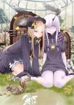 2girls abigail_williams_(fate/grand_order) animal arm_support bangs bird black_bow black_dress black_footwear black_hat blonde_hair bloomers blue_eyes bow butterfly closed_mouth commentary dress eating fate/grand_order fate_(series) flower grass greenhouse hair_between_eyes hair_bow hat highres horn indoors jukebox kneeling lavinia_whateley_(fate/grand_order) long_hair long_sleeves looking_at_viewer multiple_girls nonh_(wormoftank) on_grass orange_bow parted_bangs polka_dot polka_dot_bow red_eyes shoes sitting sleeves_past_wrists smile squirrel underwear very_long_hair wariza white_bloomers white_flower white_hair wide-eyed
