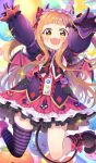 +_+ 1girl :d arms_up asymmetrical_legwear balloon bangs black_bow black_footwear blush bow brown_eyes checkered checkered_background chocho_(homelessfox) commentary_request demon_horns demon_tail demon_wings detached_sleeves dress dutch_angle fangs frilled_dress frilled_hairband frills gloves highres horns ichihara_nina idolmaster idolmaster_cinderella_girls light_brown_hair long_hair long_sleeves looking_at_viewer loose_socks open_mouth puffy_long_sleeves puffy_sleeves purple_dress purple_gloves shoes single_sock single_thighhigh sleeves_past_wrists smile socks solo star striped striped_legwear tail thigh-highs two_side_up very_long_hair wings