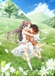 2girls :d absurdres bare_arms bare_shoulders blue_eyes blue_sky blush brown_footwear brown_hair child clouds cura daisy day dress emi_(monobeno) enty_reward eye_contact eyebrows_visible_through_hair field flower forest grass hair_ornament highres hug japanese_clothes kimono long_hair long_sleeves looking_at_another monobeno multicolored_hair multiple_girls nature no_socks obi one_eye_closed open_mouth outdoors paid_reward petals red_eyes red_kimono redhead sandals sash sawai_natsuha shoes short_hair sky sleeveless sleeveless_dress smile standing standing_on_one_leg sundress sunlight tree two-tone_hair two_side_up white_dress white_legwear yukata