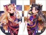 2girls :d black_bow black_hair blonde_hair bow closed_mouth commentary_request cowboy_shot crown earrings ereshkigal_(fate/grand_order) eyebrows_visible_through_hair fate/grand_order fate_(series) from_side fur_collar hair_bow holding ishtar_(fate/grand_order) japanese_clothes jewelry kimono long_hair long_sleeves looking_at_viewer looking_to_the_side multiple_girls obi open_mouth red_bow red_eyes revision sash shutsuri smile standing symmetry tohsaka_rin twintails wide_sleeves