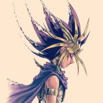 1boy armlet atem blonde_hair cape closed_eyes dark_skin dark_skinned_male dissolving earrings forehead_protector jewelry male_focus multicolored_hair sepia_background simple_background sleeveless solo spiky_hair takahashi_kazuki upper_body yu-gi-oh! yuu-gi-ou_duel_monsters