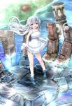 1girl :d bangs barefoot blue_eyes blush breasts day dress dress_lift frilled_dress frills halterneck highres in_palm kagitsume large_breasts long_hair looking_at_viewer mecha open_mouth original outdoors river silver_hair smile solo standing sundress very_long_hair wading water white_dress wind