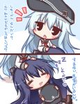 2girls 2koma =_= akatsuki_(kantai_collection) anchor bangs black_eyes black_hat black_skirt blue_hair blush brown_footwear closed_eyes comic commentary_request drooling eyebrows_visible_through_hair flat_cap hair_between_eyes hands_on_another's_head hat hat_removed headwear_removed hibiki_(kantai_collection) holding holding_hat kantai_collection komakoma_(magicaltale) lap_pillow long_hair long_sleeves lying multiple_girls neckerchief notice_lines on_back open_mouth pleated_skirt purple_hair red_neckwear saliva school_uniform serafuku shirt shoes skirt sleeping sleeves_past_wrists translation_request very_long_hair white_shirt zzz