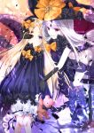 2girls abigail_williams_(fate/grand_order) bangs black_bow black_dress black_gloves black_hat black_legwear black_panties blonde_hair bloomers blue_eyes blush bow butterfly commentary_request dress dual_persona elbow_gloves eye_contact fate/grand_order fate_(series) gloves glowing hair_bow hand_on_another's_face hat hat_bow highres holding holding_stuffed_animal iroha_(shiki) kneehighs long_hair long_sleeves looking_at_another looking_at_viewer multiple_girls orange_bow pale_skin panties parted_bangs parted_lips polka_dot polka_dot_bow red_eyes revealing_clothes sleeves_past_wrists stuffed_animal stuffed_toy teddy_bear tentacle topless underwear very_long_hair white_bloomers white_hair witch_hat