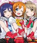 3girls bangs black_bow blue_eyes blue_hair blush bokura_wa_ima_no_naka_de bow choker commentary_request earrings finger_to_mouth fingerless_gloves frills gloves grey_hair hair_between_eyes hair_bow highres jewelry koi_dance kousaka_honoka long_hair love_live! love_live!_school_idol_project minami_kotori multiple_girls navel neck_ribbon necktie one_eye_closed one_side_up open_mouth orange_hair panimiiru plaid plaid_skirt red_gloves red_skirt ribbon shirt short_sleeves skirt sleeveless sleeveless_shirt smile sonoda_umi striped_neckwear suspender_skirt suspenders white_shirt yellow_eyes