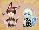2boys animal_ears bangs binta_(doubutsu_no_mori) black_hair blunt_bangs blush bow bowtie cat cat_tail checkered checkered_skirt doubutsu_no_mori half-closed_eyes multiple_boys open_mouth personification plaid plaid_vest ricky_(doubutsu_no_mori) skirt smile squirrel squirrel_ears squirrel_tail tail vest whiskers white_hair yellow_eyes