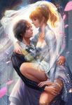 1boy 1girl black_hair blonde_hair blue_eyes breasts bridal_veil carrying cleavage couple dress final_fantasy final_fantasy_xv formal garter_straps highres lips long_hair lunafreya_nox_fleuret medium_breasts noctis_lucis_caelum nose ponytail princess_carry suit veil white_dress yang_fan