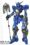 bionicle crossover gali gun gundam gundam_tekketsu_no_orphans gundam_vidar lego mecha namesake no_humans polearm pun the_lego_group weapon yellow_eyes