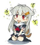 1girl :3 :d alternate_hair_color animal_ears bangs black_gloves black_legwear black_shirt blush chibi commentary_request dog_ears dog_tail fang fingerless_gloves gloves hair_ears hair_flaps hair_ornament hairclip igo_miku kantai_collection long_hair looking_at_viewer open_mouth poi red_eyes scarf shirt short_sleeves sitting slit_pupils smile socks solo tail traditional_media wariza white_scarf yuudachi_(kantai_collection)